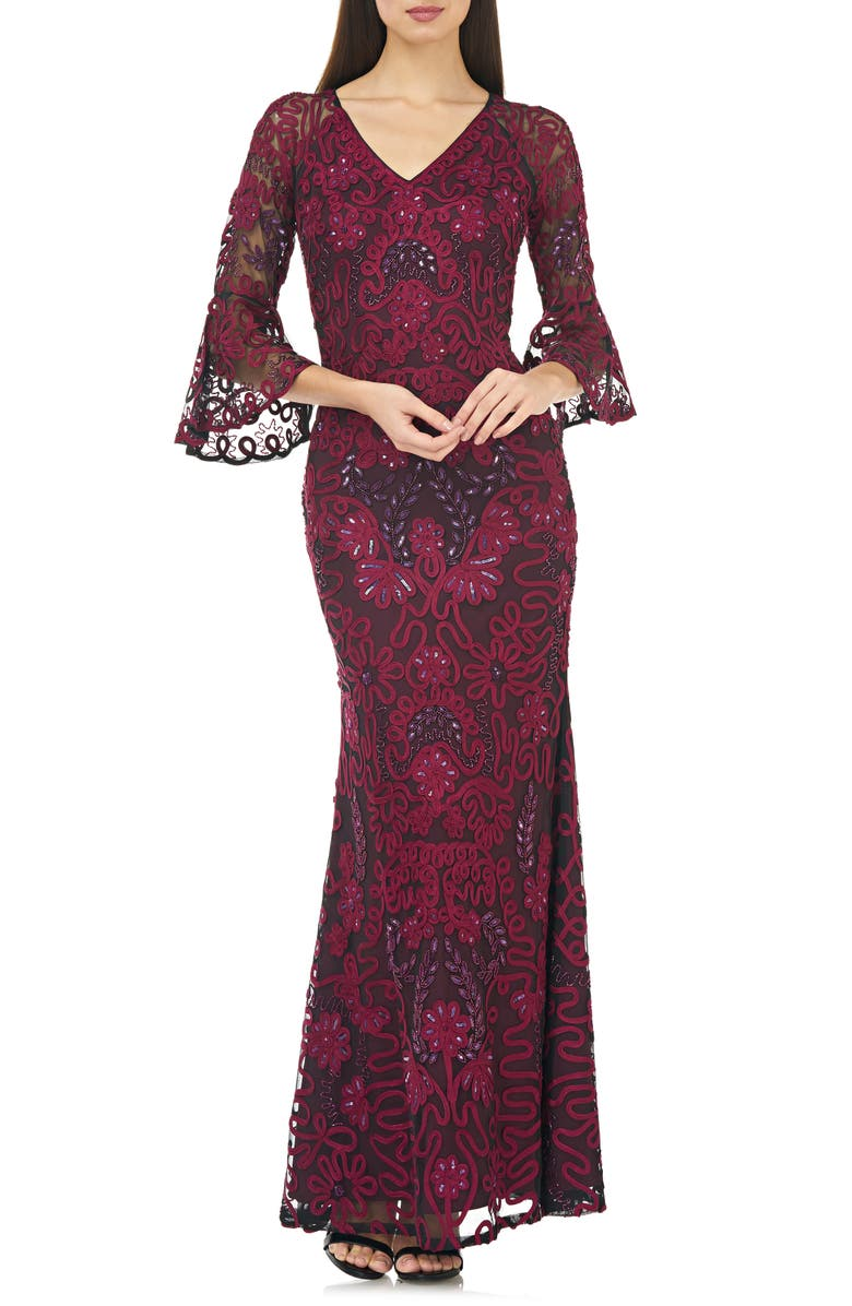 JS COLLECTIONS Soutache Embroidered Trumpet Gown, Main, color, BLACK JAM