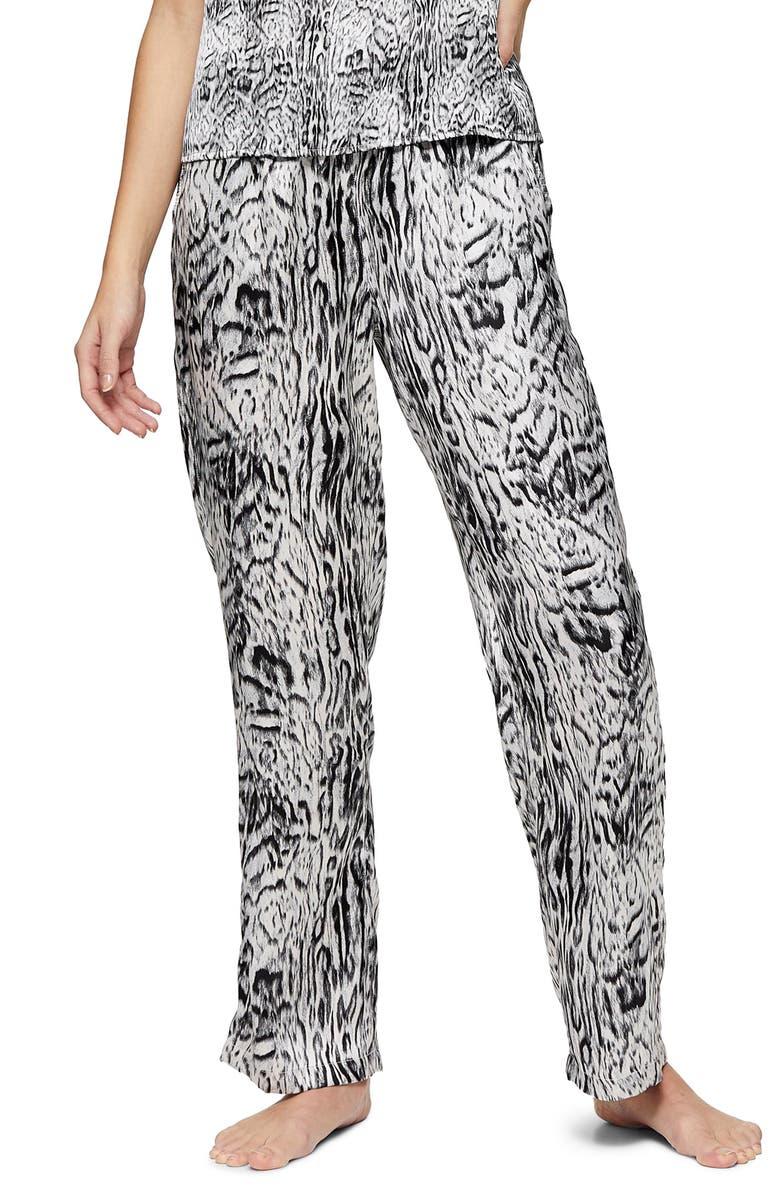 TOPSHOP Blur Animal Print Pajama Pants, Main, color, 002
