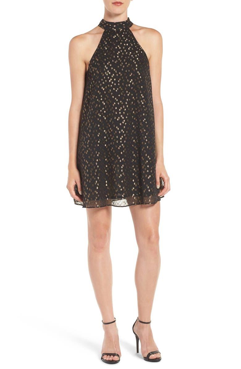 CHELSEA28 Metallic Halter Dress, Main, color, 001