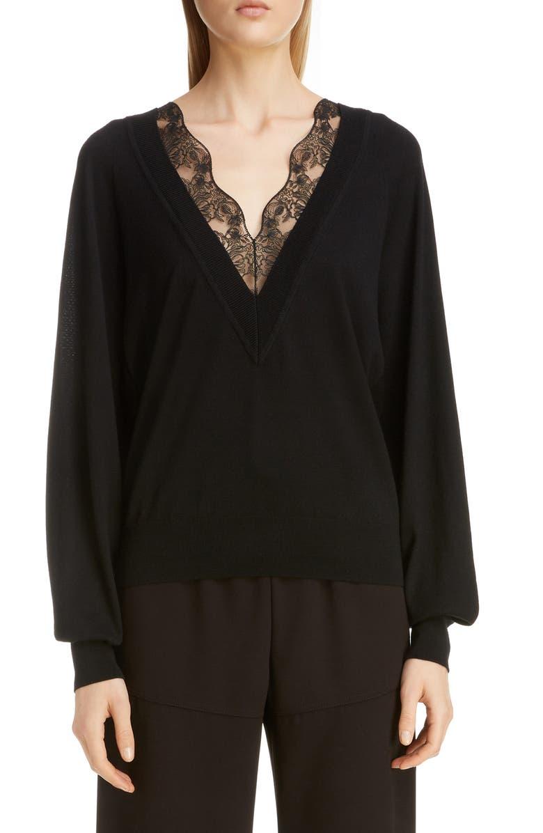 CHLOÉ Lace Trim Wool & Silk Sweater, Main, color, BLACK