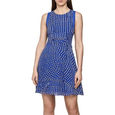 Reiss Nelly Spot Print Sleeveless Fit & Flare Dress, US / 12 UK - Blue