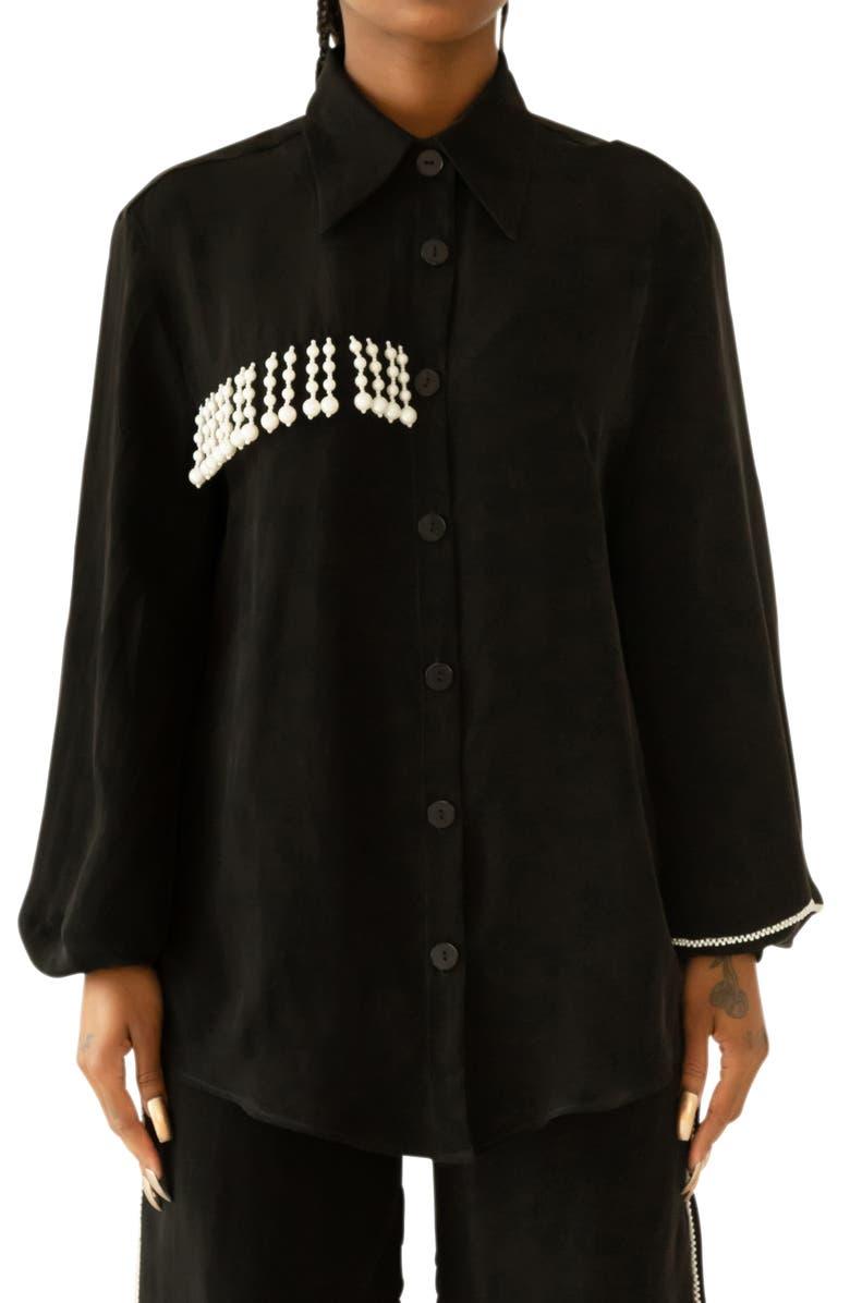 KKCO Bead Trim Shirt, Main, color, BLACK