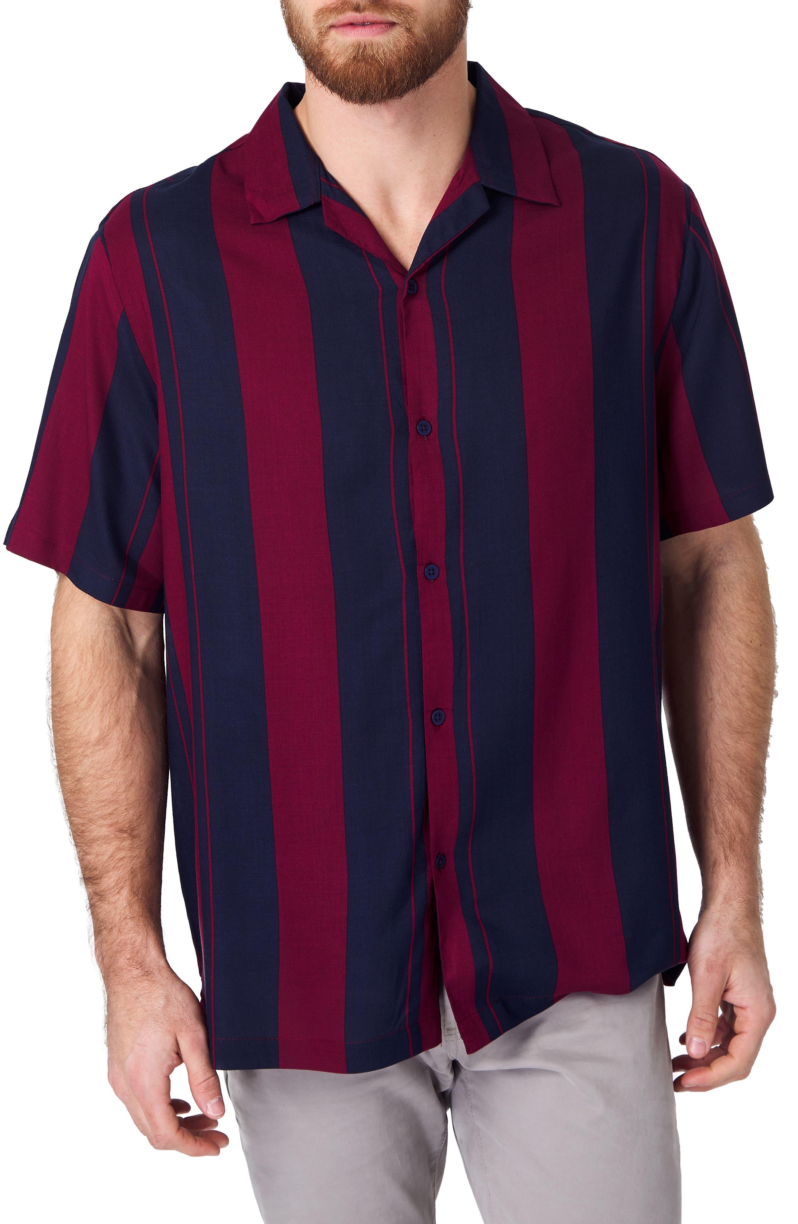 1950s Mens Shirts | Retro Bowling Shirts, Vintage Hawaiian Shirts Mens 7 Diamonds All Shook Up Slim Fit Stripe Camp Shirt $69.00 AT vintagedancer.com