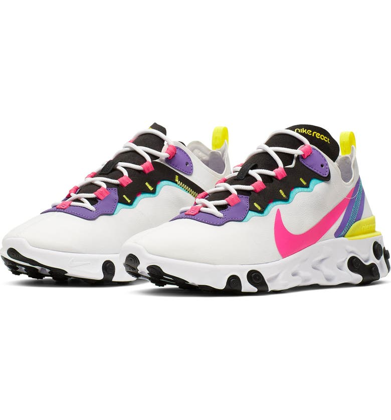 NIKE React Element 55 Sneaker, Main, color, WHITE/ HYPER PINK/ BLACK