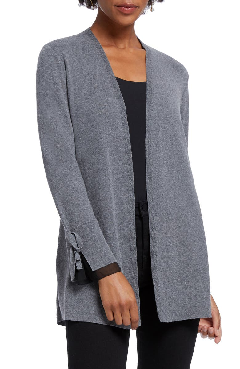 NIC+ZOE Tie Cuff Cotton Blend Cardigan, Main, color, EARL GREY
