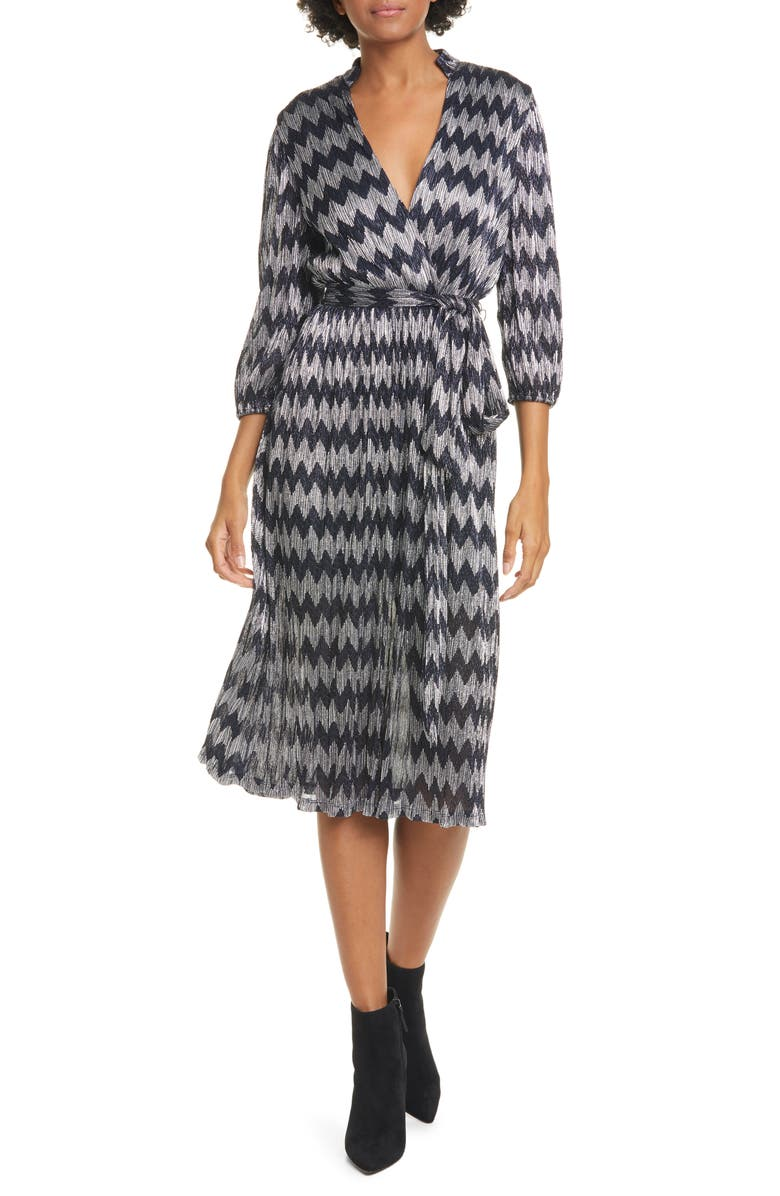 ALICE + OLIVIA Katina Belted Faux Wrap Midi Dress, Main, color, SAPPHIRE/ SILVER