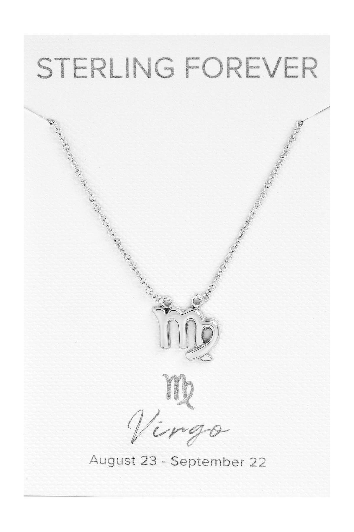 Sterling Forever Rhodium Plated Zodiac Pendant Necklace - Virgo