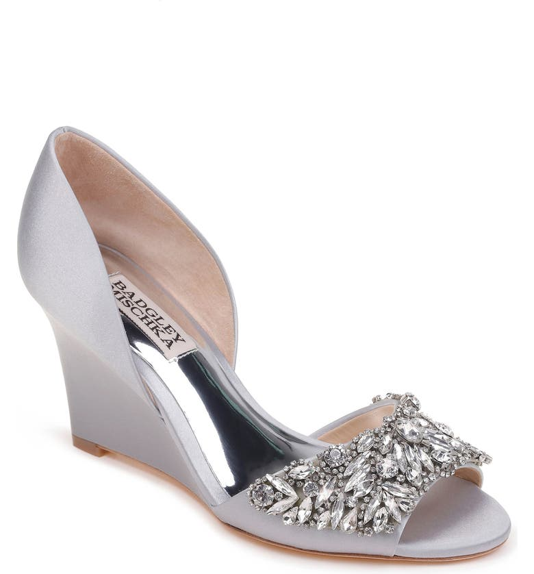 0130e7f05a Badgley Mischka Hardy Embellished Wedge, Main, color, SILVER SATIN