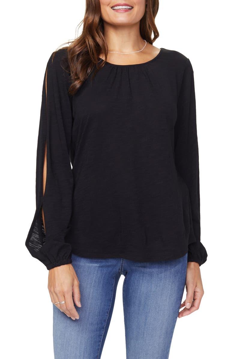 NYDJ Split Sleeve Cotton Slub Top, Main, color, 001