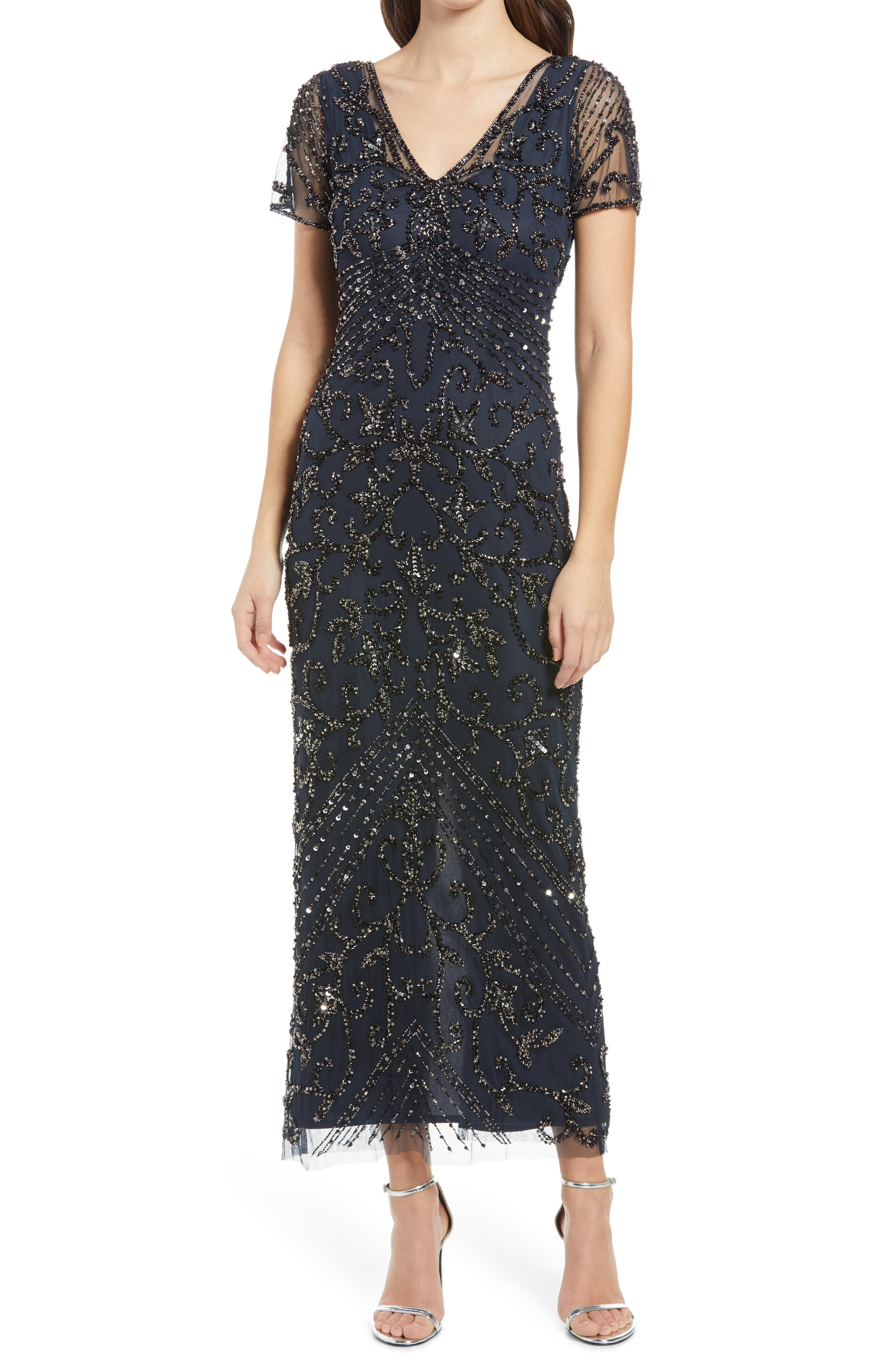 Great Gatsby Dress – Great Gatsby Dresses for Sale Womens Pisarro Nights Beaded Mesh Column Gown Size 14 - Blue $238.00 AT vintagedancer.com