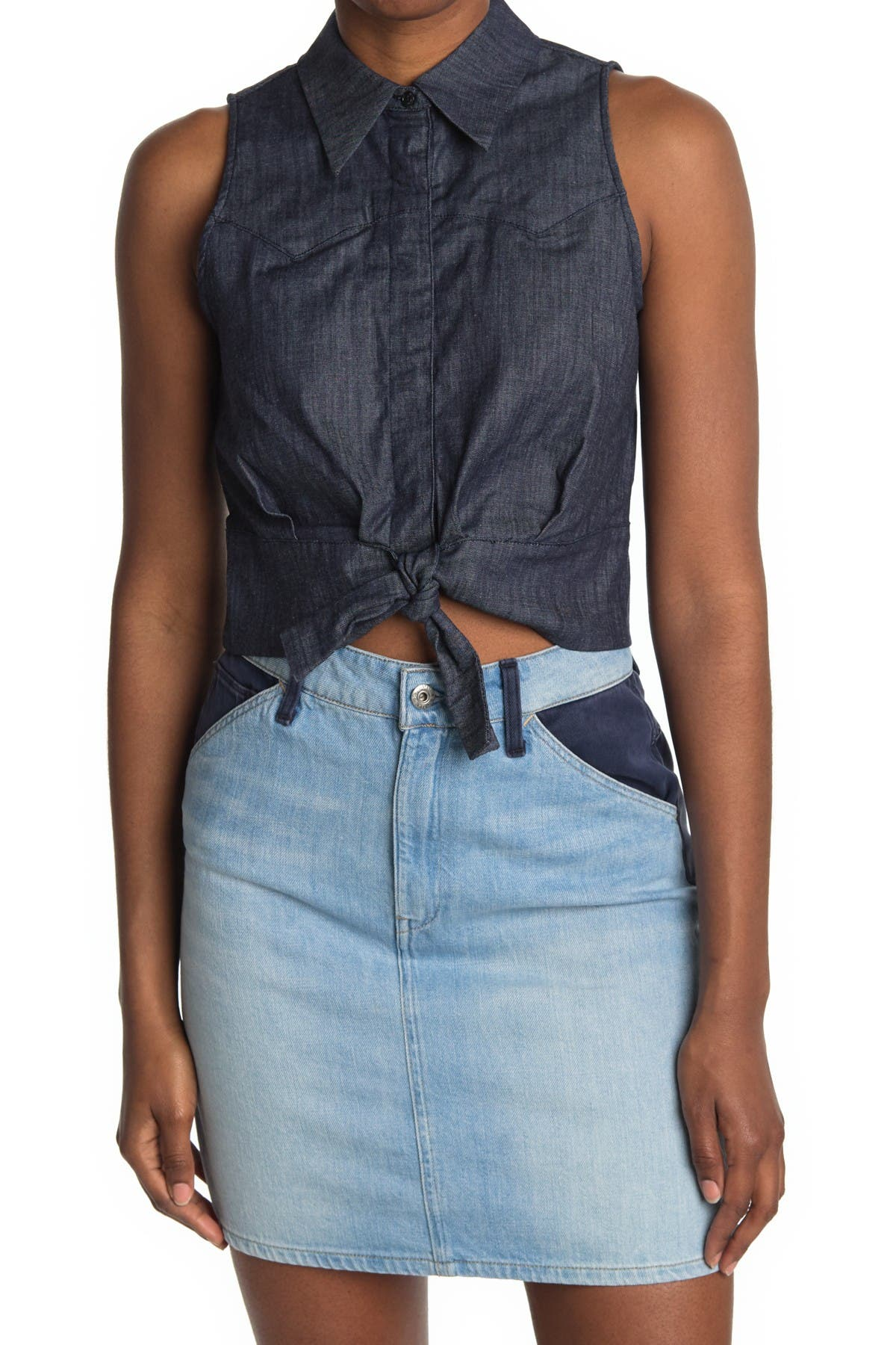 Image of G-STAR RAW Tacoma Front Tie Sleeveless Top
