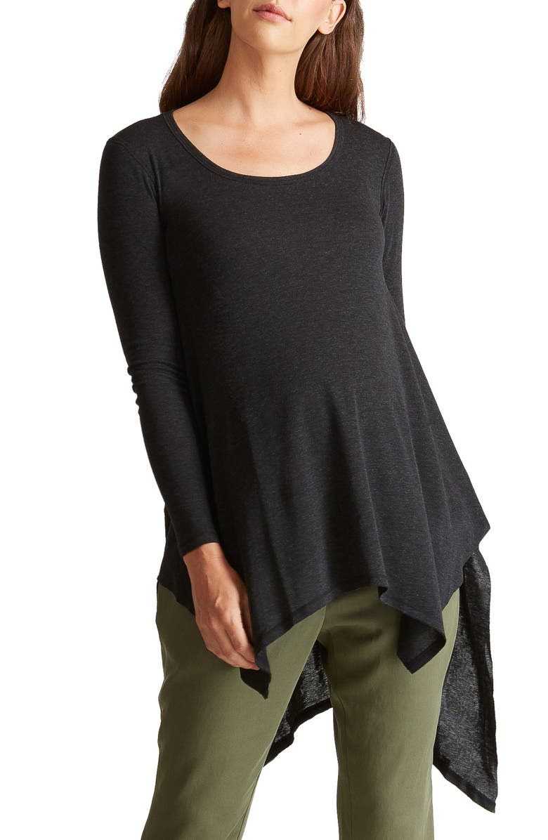 INGRID & ISABEL<SUP>®</SUP> Handkerchief Maternity Tunic Top, Main, color, DARK HEATHER