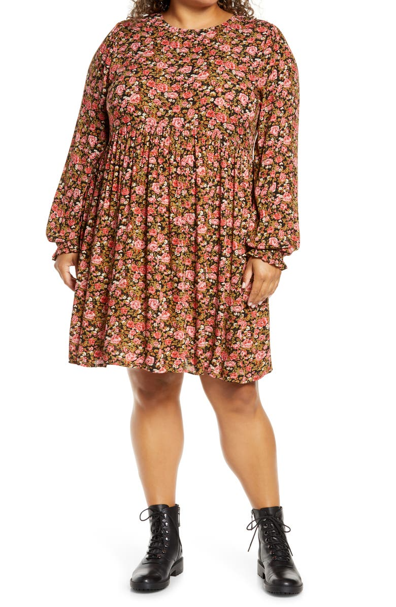 BP. Frill Cuff Long Sleeve Dress, Main, color, BLACK BETSY ROSE FLORAL