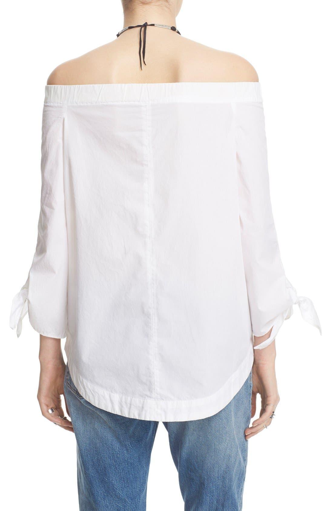,                             'Show Me Some Shoulder' Off the Shoulder Cotton Blouse,                             Alternate thumbnail 10, color,                             100