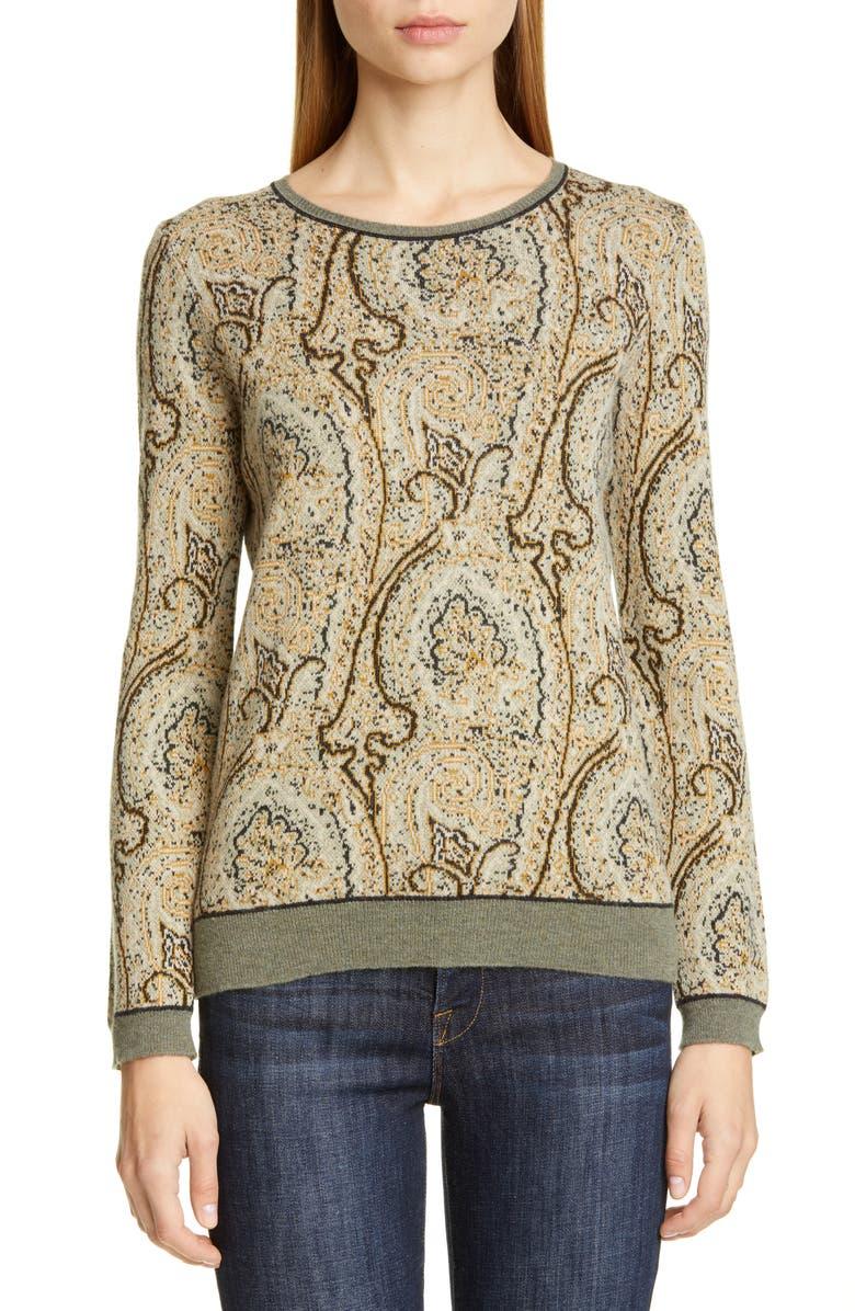 ETRO Paisley Jacquard Sweater, Main, color, 900