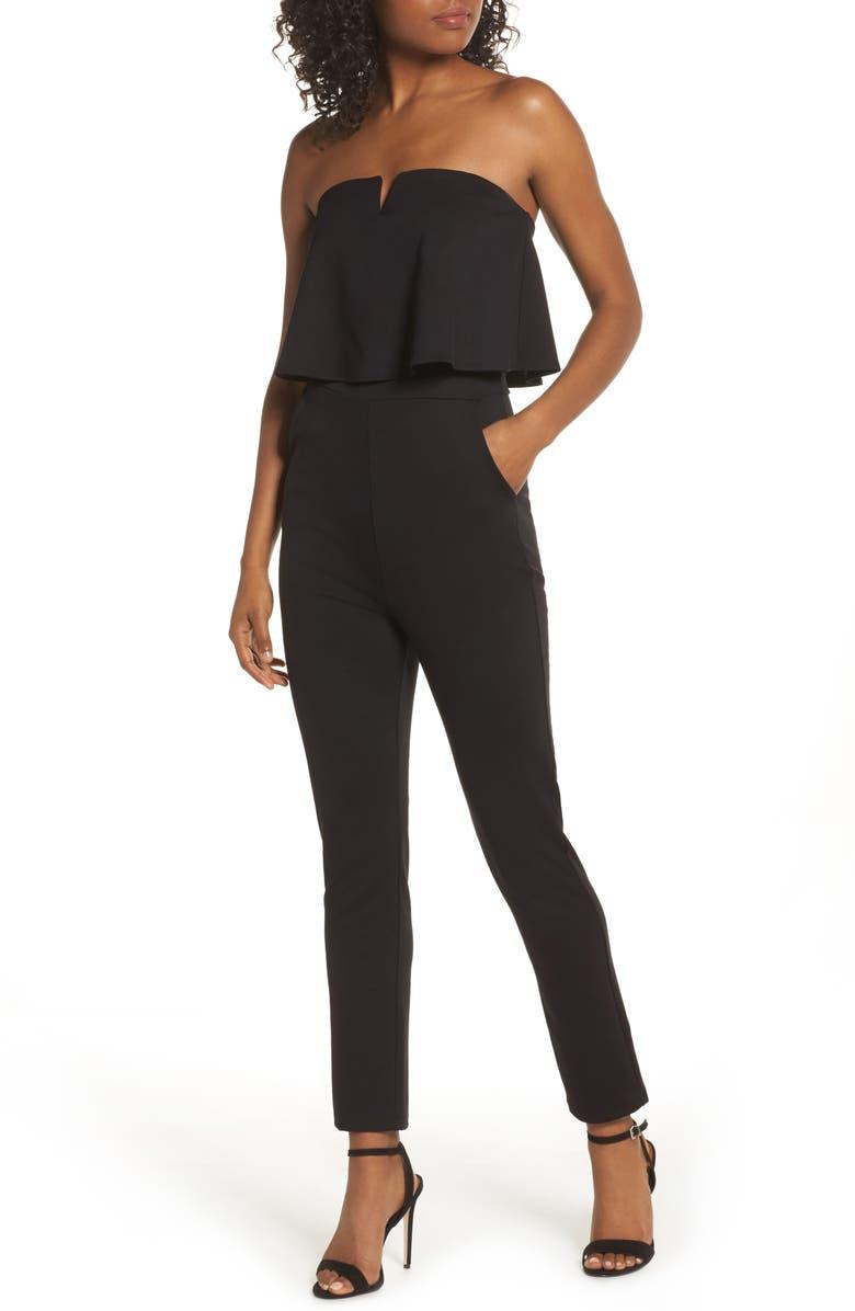 FRAICHE BY J Strapless Ruffle Jumpsuit, Main, color, BLACK