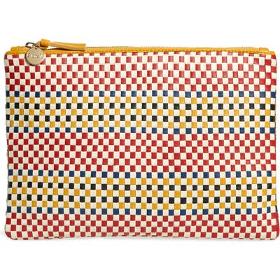 Clare V. Flat Woven Leather Clutch - Red