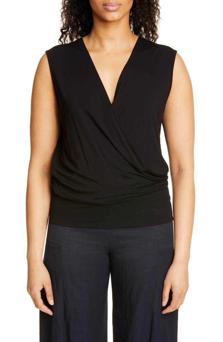 ZERO + MARIA CORNEJO Jazmin Slim Jersey Wrap Top, Main, color, BLACK