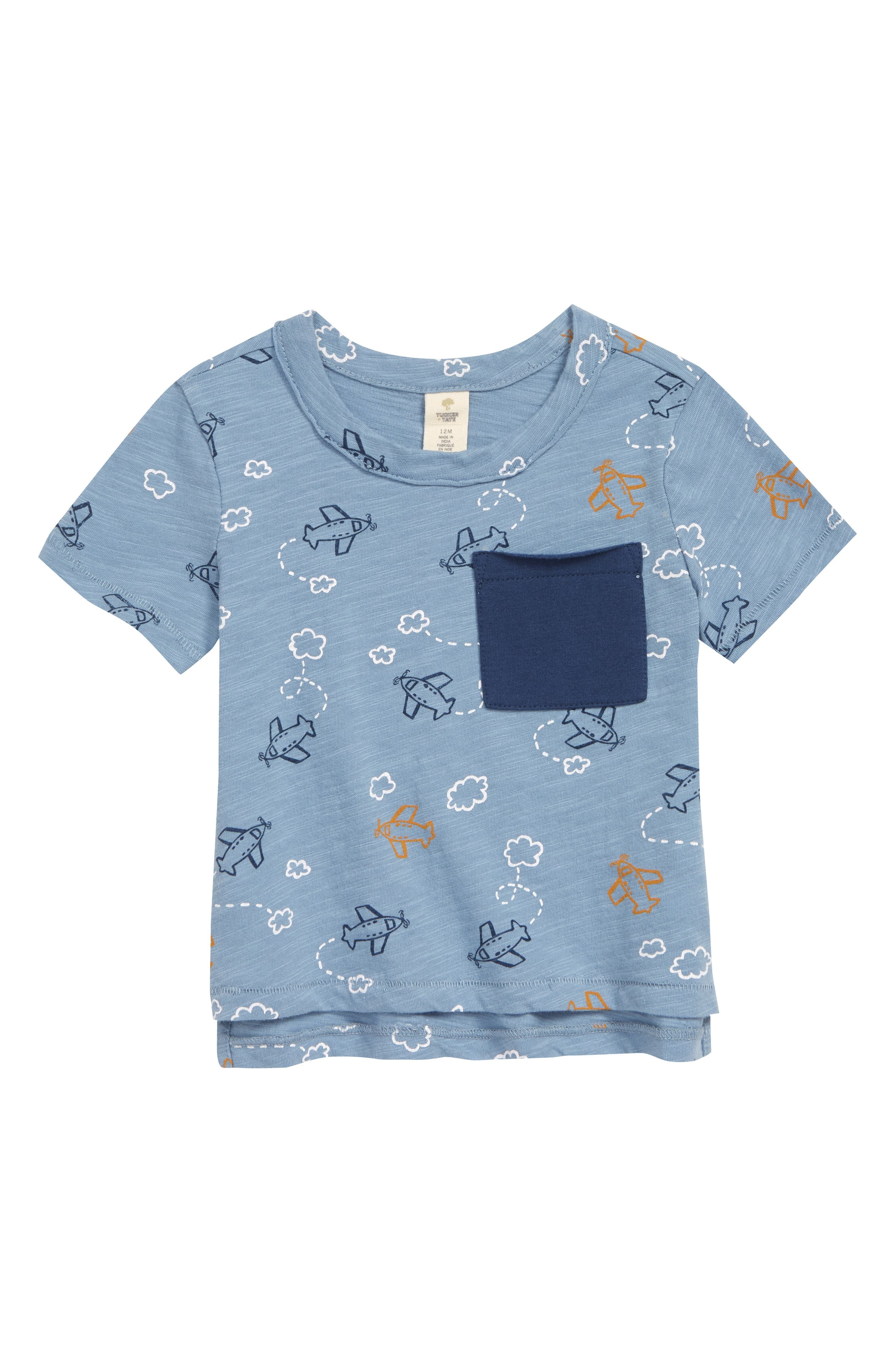 Airplanes pull off loop-the-loop maneuvers among the clouds on this fun little tee with a cute contrasting patch pocket. Style Name: Tucker + Tate Airplane Graphic Tee (Baby). Style Number: 6011232. Available in stores.