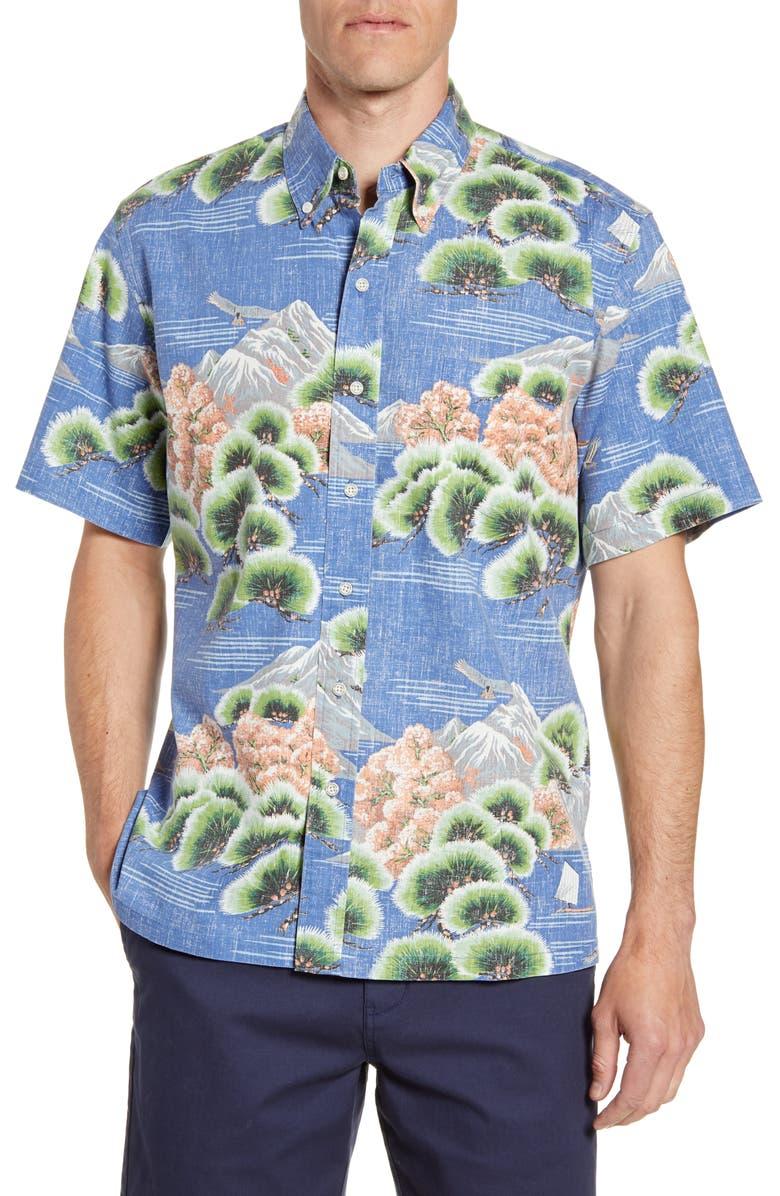 REYN SPOONER Kuromatsu Forest Classic Fit Short Sleeve Button-Down Sport Shirt, Main, color, TRUE NAVY