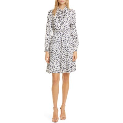Tailored By Rebecca Taylor Chamomile Floral Long Sleeve Silk Blend Dress, Blue