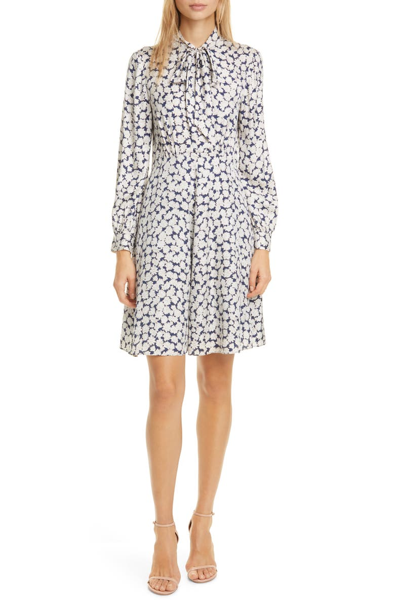 TAILORED BY REBECCA TAYLOR Chamomile Floral Long Sleeve Silk Blend Dress, Main, color, BLUE COMBO