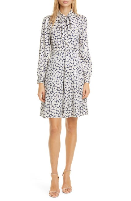 Image of TAILORED BY REBECCA TAYLOR Chamomile Floral Long Sleeve Silk Blend Dress