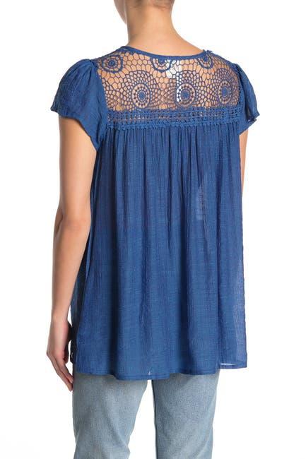 Image of Forgotten Grace Crochet Trim Short Sleeve Blouse