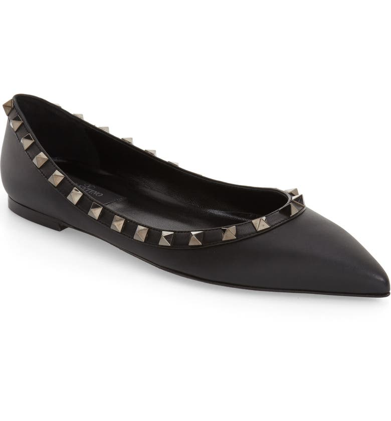 VALENTINO GARAVANI Rockstud Pointed Toe Flat, Main, color, BLACK LEATHER