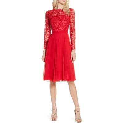 Chi Chi London Naarah Long Sleeve Lace Bodice Chiffon Cocktail Dress, Red