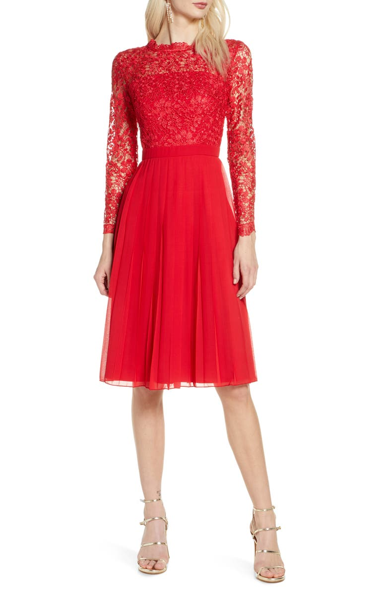 CHI CHI LONDON Naarah Long Sleeve Lace Bodice Chiffon Cocktail Dress, Main, color, RED