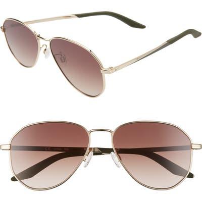 Nike Ascendant 57mm Tinted Aviator Sunglasses - Gold / Cargo Khaki/ Brown Grad