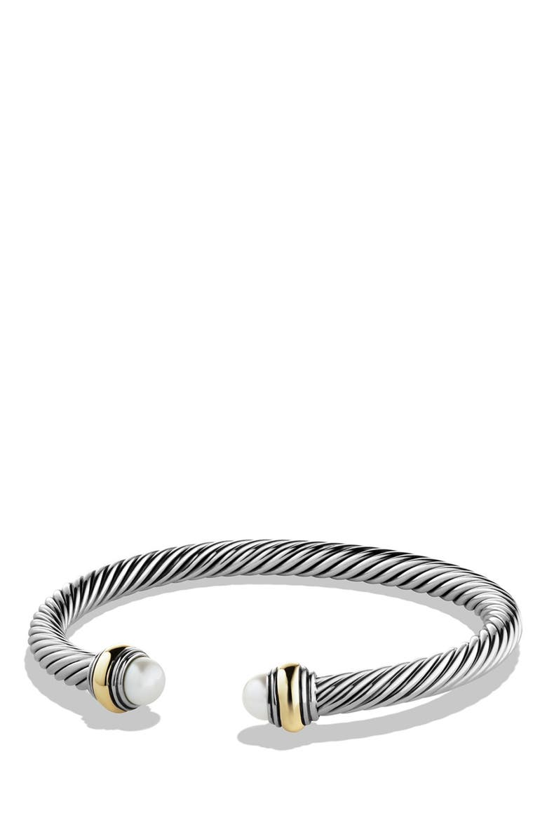DAVID YURMAN Cable Classics Bracelet with Semiprecious Stones & 14K Gold Accent, 5mm, Main, color, PEARL