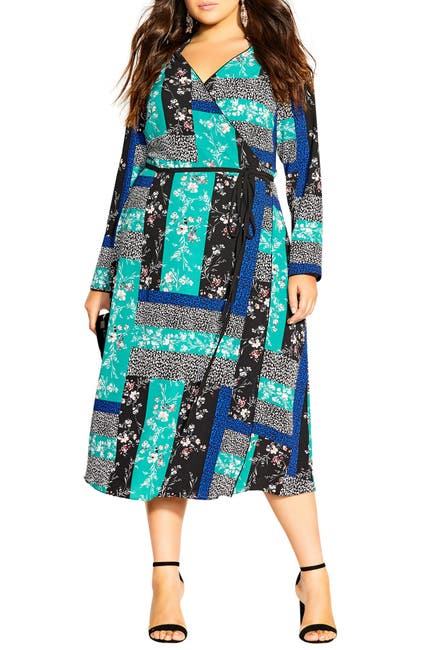 Image of City Chic Bright Patch Long Sleeve Dress