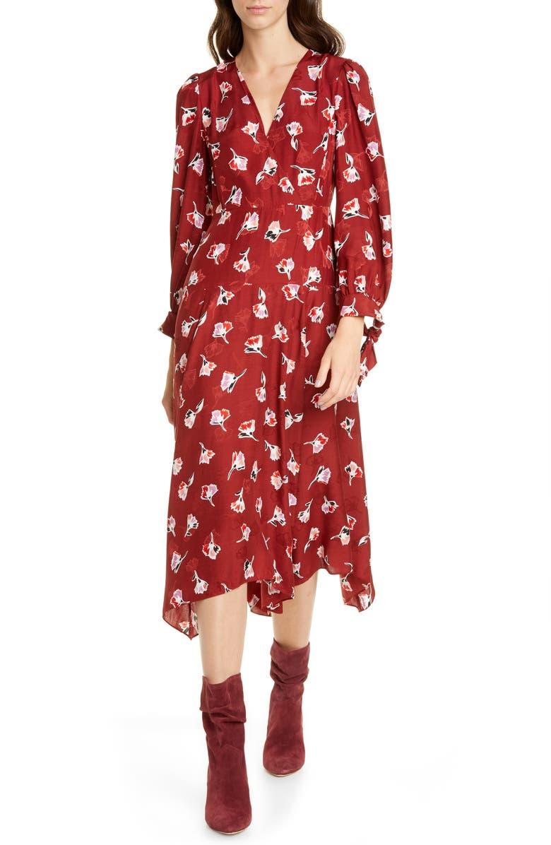 REBECCA TAYLOR Paintbrush Long Sleeve Silk Blend Dress, Main, color, CABERNET COMBO