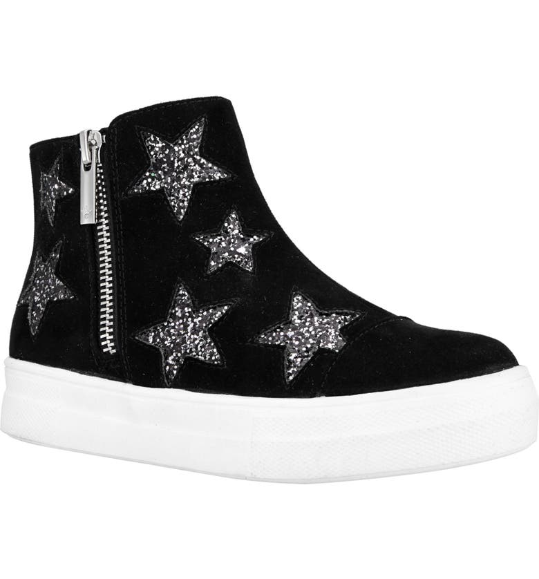 NINA Jacqui Glitter High Top Sneaker, Main, color, BLACK MICRO SUEDE