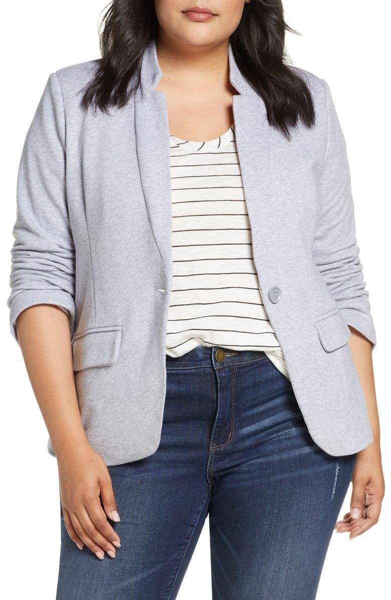 GIBSONLOOK Inverted Notch Collar Cotton Blend Blazer, Main, color, GREY