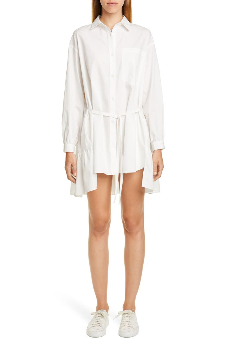 SANDY LIANG Ums Tiered Long Sleeve Shirtdress, Main, color, WHITE
