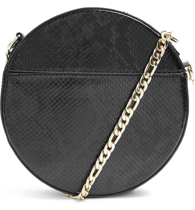 TOPSHOP Gee Circle Faux Leather Shoulder Bag, Main, color, BLACK