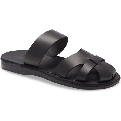 Jerusalem Sandals Adino Slide Sandal, Black