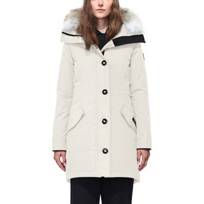 Canada Goose Rossclair Genuine Coyote Fur Trim Down Parka, (6-8) - Ivory