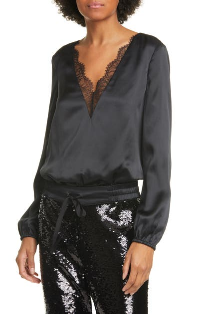 Cami Nyc Suits THE MADDOX LACE TRIM SILK SATIN BODYSUIT