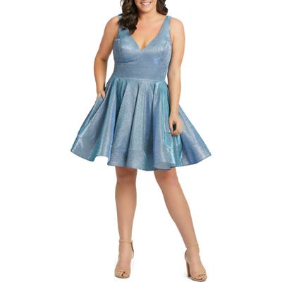 Plus Size MAC Duggal Sleeveless Sparkle Metallic Fit & Flare Dress, Blue