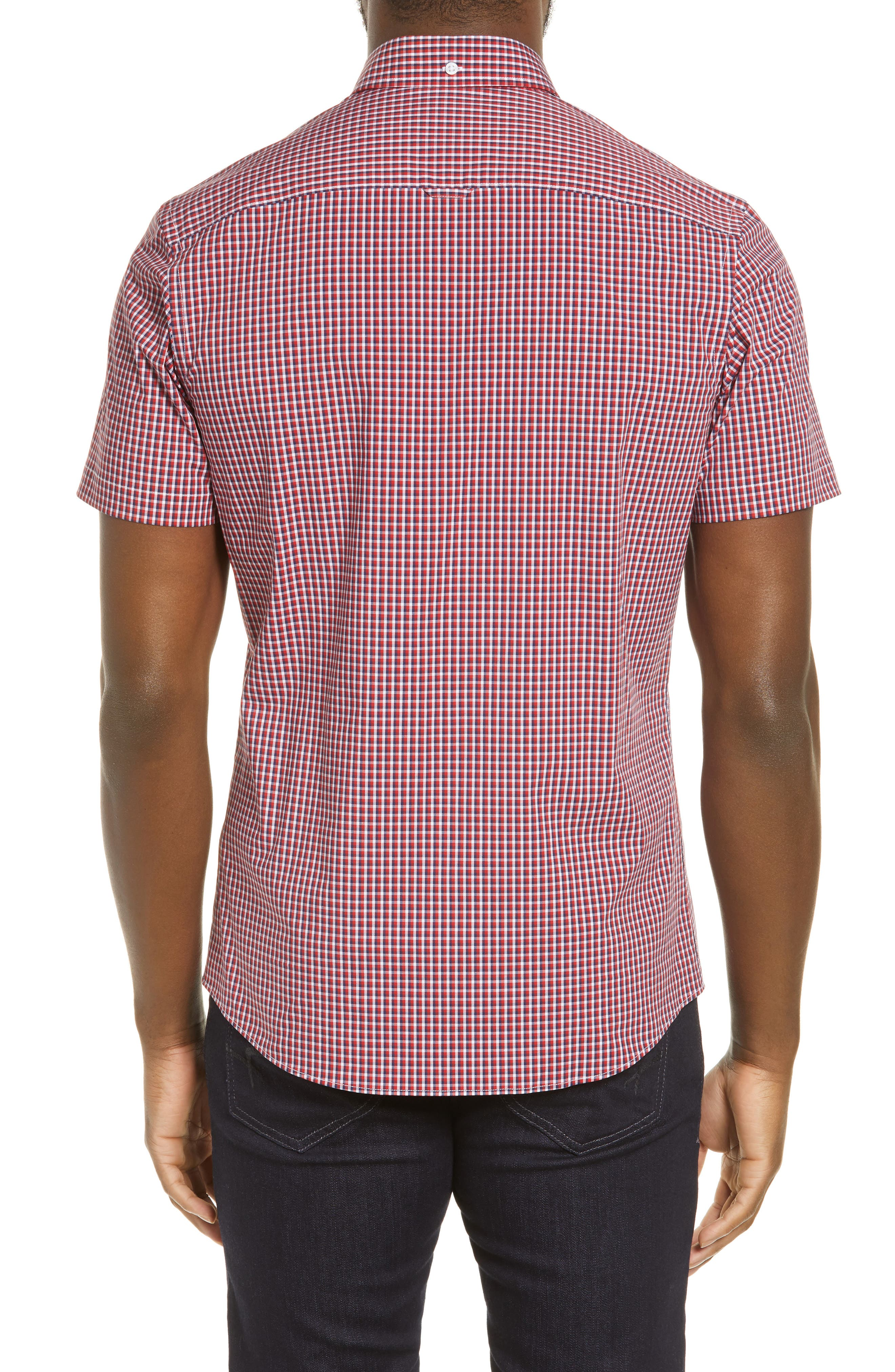 ,                             Tech-Smart Regular Fit Check Sport Shirt,                             Alternate thumbnail 3, color,                             RED POMPEII NAVY CHECK