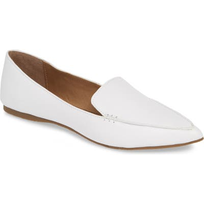 Steve Madden Feather Loafer Flat- White