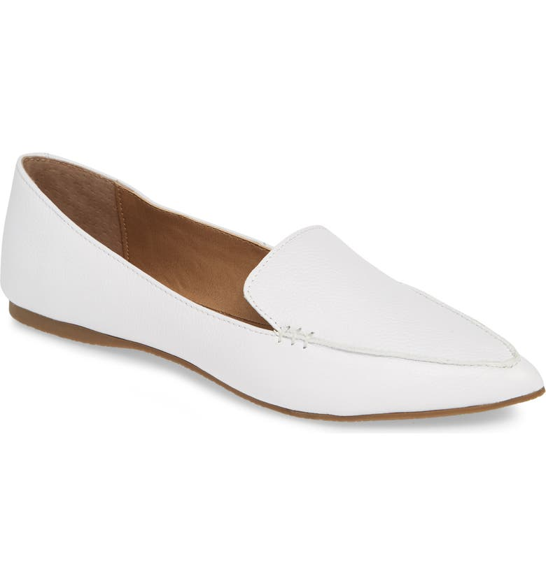 STEVE MADDEN Feather Loafer Flat, Main, color, WHITE LEATHER
