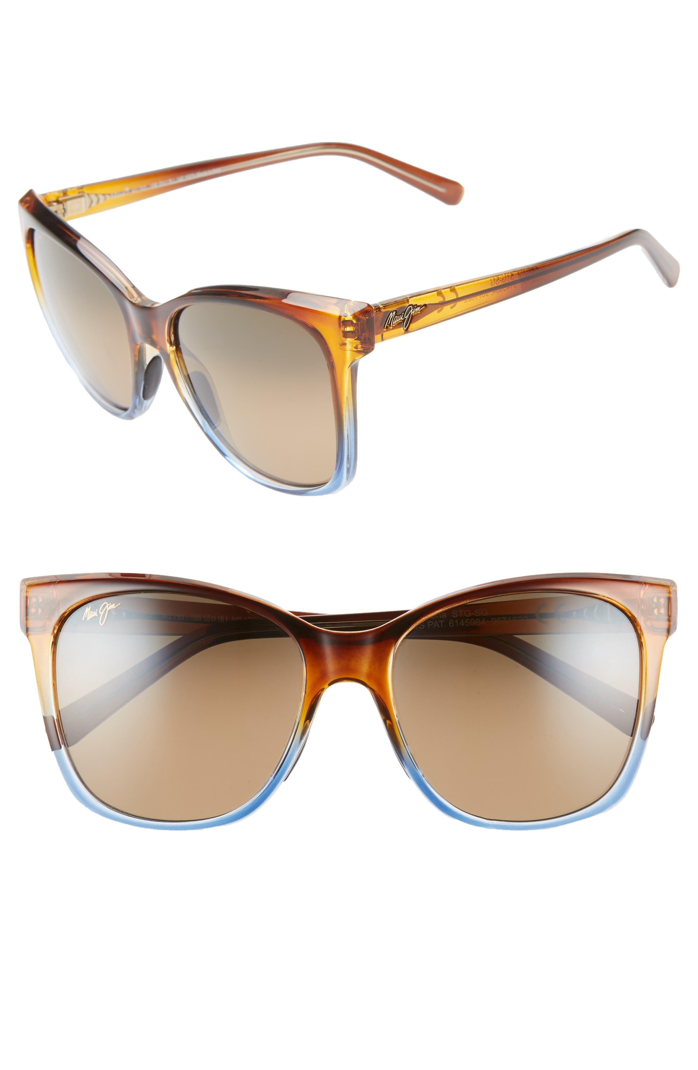Maui Jim Alekona 55Mm Sunglasses - Caramel With Blue/ Hcl Bronze
