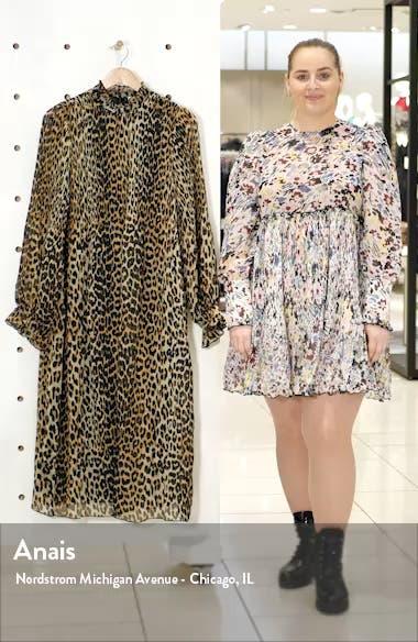 Leopard Print Sheer Georgette Long Sleeve Midi Dress, sales video thumbnail
