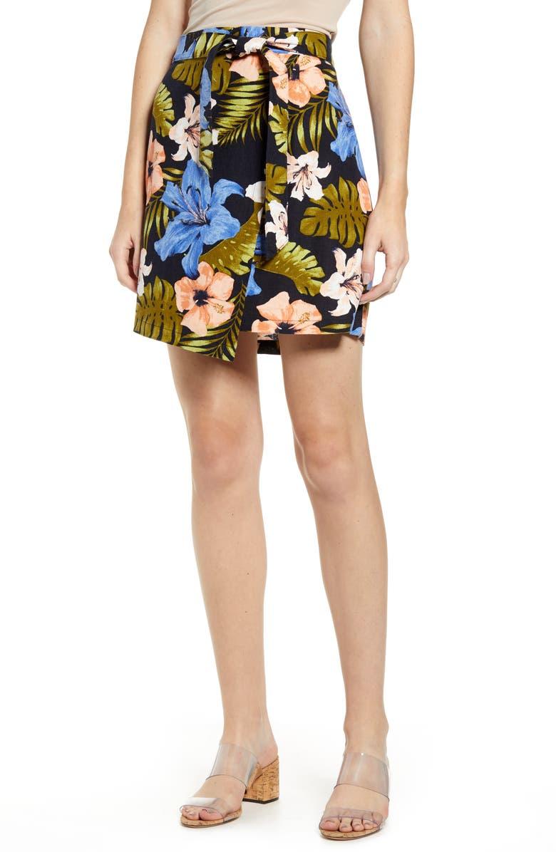 VERO MODA Efie Milo Tropical Print Faux Wrap Miniskirt, Main, color, NIGHT SKY
