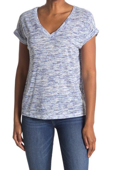 Image of Bobeau Short Sleeve Double V-Neck Caty Top